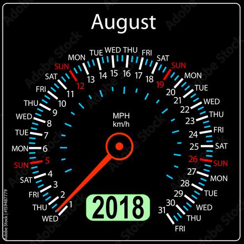 Year 2018 calendar speedometer car in concept. August Wall mural