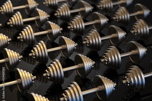Fotografie, Obraz  Dumbbells on a black reflective surface