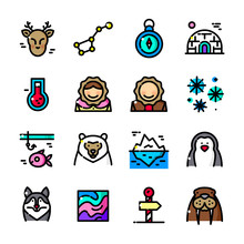 Thin Line Arctic Icons Set, Ve...
