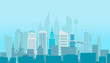 Modern cityscape silhouette vector illustartion. Office builngs houses and scyscrapers