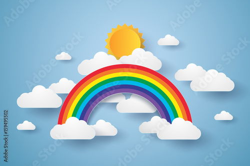 Cuadros en Lienzo Blue sky with rainbow and cloud , paper art style
