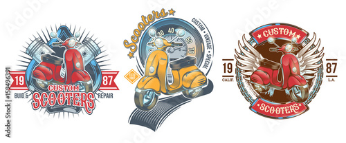 Fotografija Set vector color vintage badges, emblems with a custom scooter