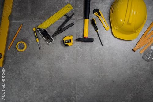 Fototapeta  Engineer Desk. Tools and helmet obraz na płótnie
