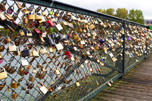 Love Locks At Paris Bridge