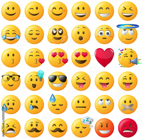 Fotografie, Obraz  Smileys Emoticons Set gelb