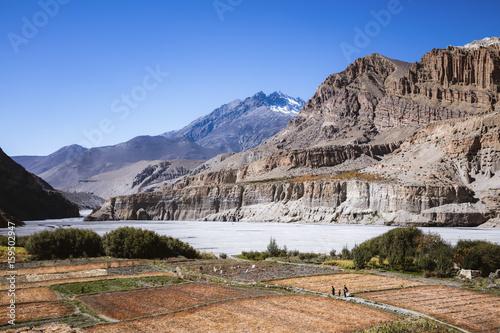 Foto op Canvas Zalm Landscape near Chhusang, Upper Mustang region, Nepal