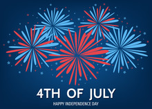 USA  Happy   Independence  Day Background  With  Fireworks.