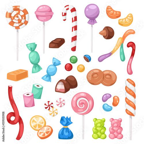 Cuadros en Lienzo Cartoon sweet bonbon sweetmeats candy kids food sweets mega collection isolated