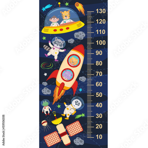 Photo  growth measure with animals in cosmos- vector illustration, eps