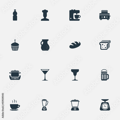 Vector Illustration Set Of Simple Cuisine Icons Elements Bread