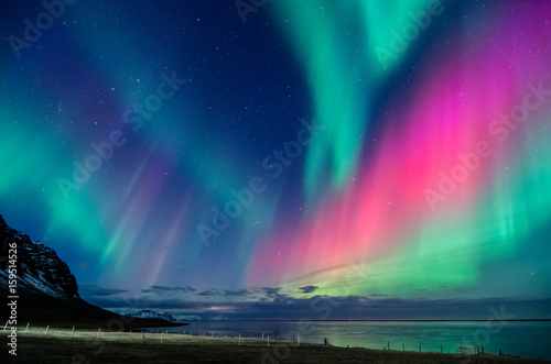 Wall Murals Northern lights colorful northern lights