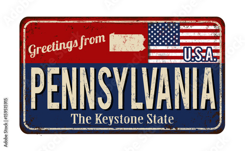 Valokuva  Greetings from Pennsylvania vintage rusty metal sign
