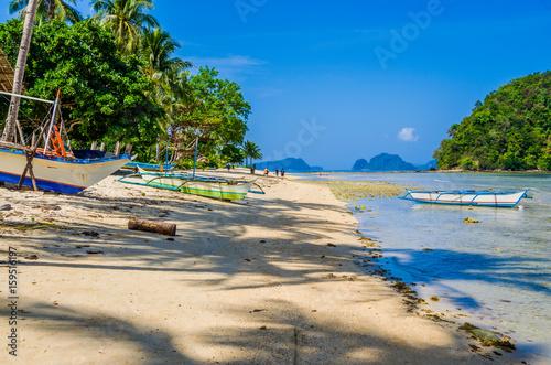 Fishing Boats On Shore Under Palms Tropical Island Landscape El Nido Palawan
