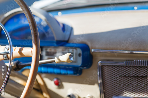 Retro car, retro torpedo car, vintage steering wheel, speedometer Canvas Print
