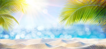 Abstract Beach Background - Sunny Sand And Shiny Sea At Shadows Of Palm Tree