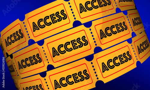 Access Tickets Rolls Admission Pass 3d Illustration Canvas Print