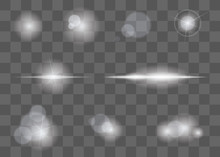 Lights Glare Effect, Flare And Explosion Flash Effect. Vector Isolated On Transparent Background.