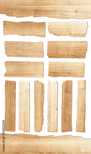 Vector wood plank isolated on white background Wall mural