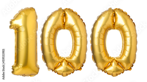 Fotografia  Number 100 of golden balloons isolated on a white background