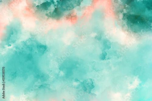 Plakat Streszczenie turkusowy akwarela tekstura tło. Styl malarstwa olejnego.