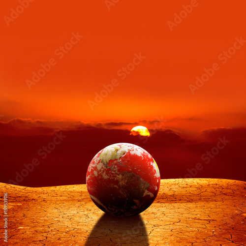 Foto op Canvas Baksteen surreal global warming concept of globe on dried land