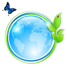 Ecological Symbol - Shiny Abstract Globe And Green Leaves