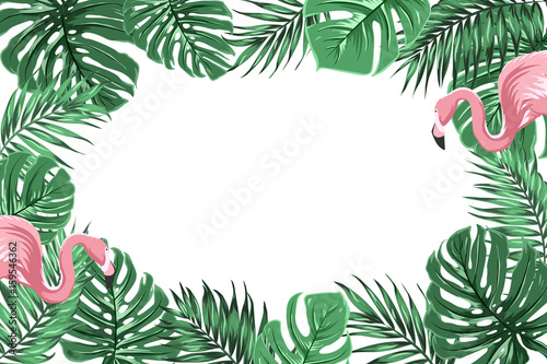 Fotografia  Tropical exotic border frame template with bright green jungle palm tree monstera leaves and pink flamingo birds couple