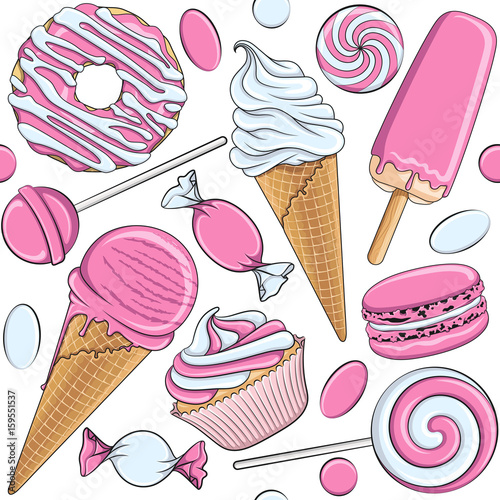 fototapeta na ścianę Seamless pattern with pink and white sweets. Vector illustration.