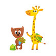 Cute animal student characters, bear holding bunch of flowers, giraffe with backpack, cartoon vector illustration isolated on white background. Little animal student characters, back to school concept