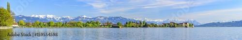 Fotografie, Obraz  Frühling am Bodensee mit Blick auf Lindau und die Alpen