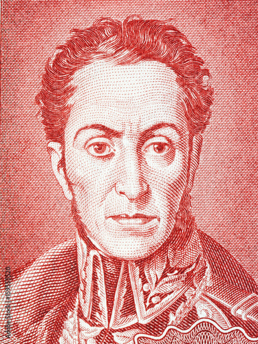 Photo Simon Bolivar portrait from Bolivian money