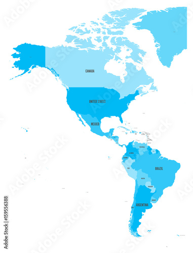 Political Map Of Americas In Four Shades Of Blue On White Background