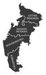 Uttar Pradesh - Madhya Pradesh - Maharashtra - Karnataka Map Illustration of Indian states
