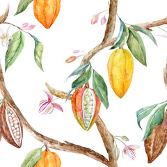 Panel Szklany Owoce Watercolor cocoa vector pattern