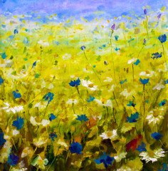 Plakat Original oil painting of flowers,beautiful field flowers on canvas. Modern Impressionism.Impasto artwork.