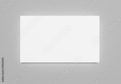 Photo Stands Dark grey White flat 3d rendering blank banner paper sheet mockup on light grey background. Flayer, poster template for your design.
