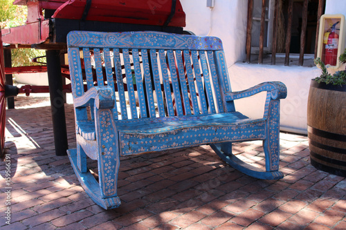 A Hand Crafted Mexican Bench. Old Wood Carved And Painted Rustic Bench. Old  Town