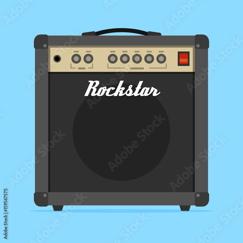 Guitar amp amplifier flat vector illustration Wallpaper Mural
