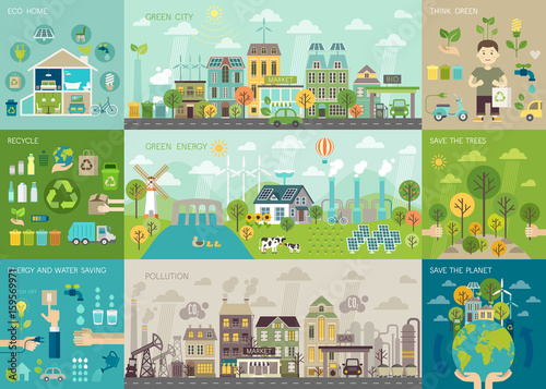 Green city Infographic set with charts and other elements.