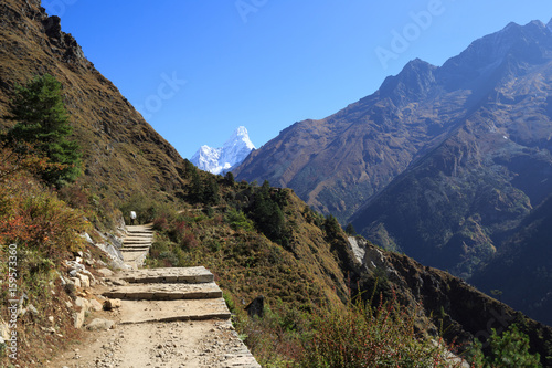 Photo  Beautiful mountain landscape on the way to everest base camp