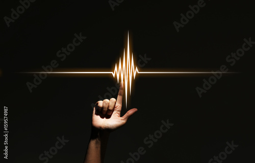 Fotografie, Obraz  human hand pointing waveform.