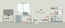Vector Interior Of The Room With Bed, Workplace, Wardrobe