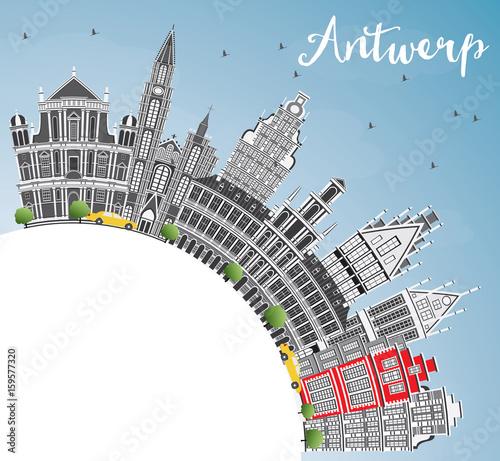 Foto op Plexiglas Antwerpen Antwerp Skyline with Gray Buildings, Blue Sky and Copy Space.