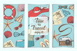 Summer vintage backgrounds with hand drawn symbols and objects. Lettering, sketch. Can be used for layout, advertising and web design.