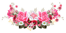 Garland With Roses And Cute Sm...