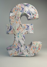 Model Of Pound Sign Wallpapered With British Bank Notes