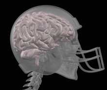 Transparent Head Of Football Player With A Helmet