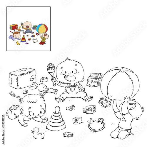 bebe jugando dibujo para colorear - Buy this stock illustration and ...
