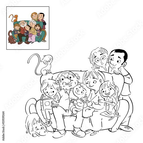 Familia Dibujo Para Colorear Buy This Stock Illustration And