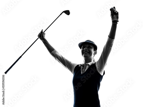 Woman Golfer Golfing Silhouette In White Background Kaufen Sie